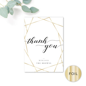 Geo Gold Foiled Personalised Thank You Cards