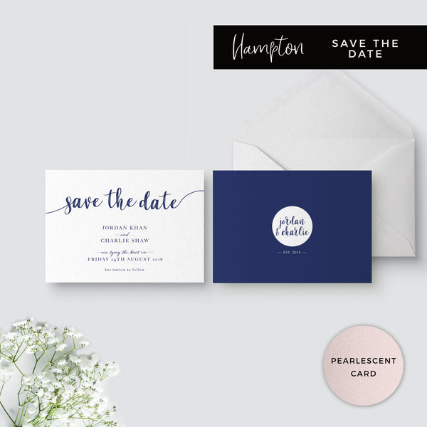 Hampton Pearlised Navy Blue Wedding Save the Date Card printed on pearlescent card