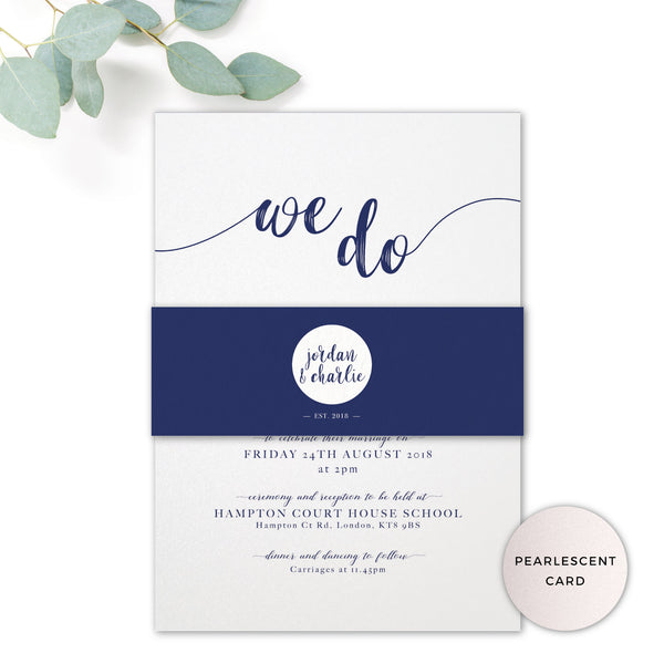 Hampton Pearlised Navy Blue Wedding Invitation with personalised monogram and belly band