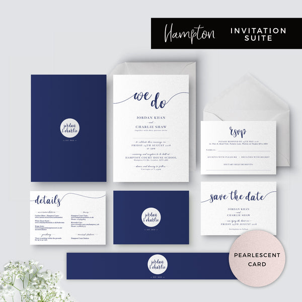 Hampton Navy Blue Wedding Invitation Suite printed on pearlescent card