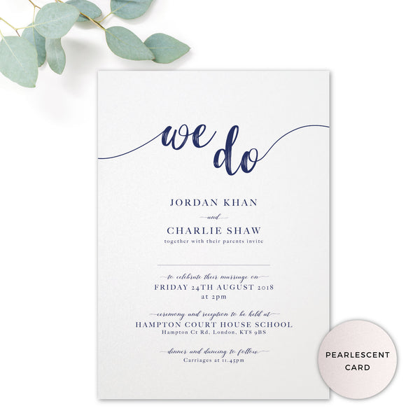 Hampton Pearlised Navy Blue Wedding Invitation 'We Do' printed on pearlscent card