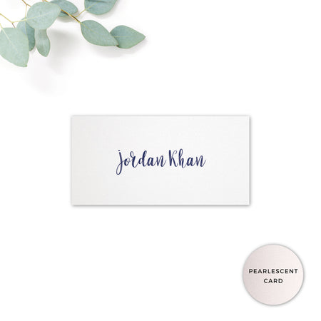 Hampton Navy Blue personalised Place card printed on pearlescent card