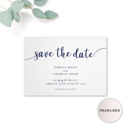 Hampton Pearlised Navy Blue Wedding Save the Date Card printed on pearlescent card with monogram