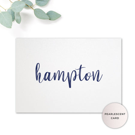 Hampton Navy Blue Wedding Table Names printed on pearlescent card