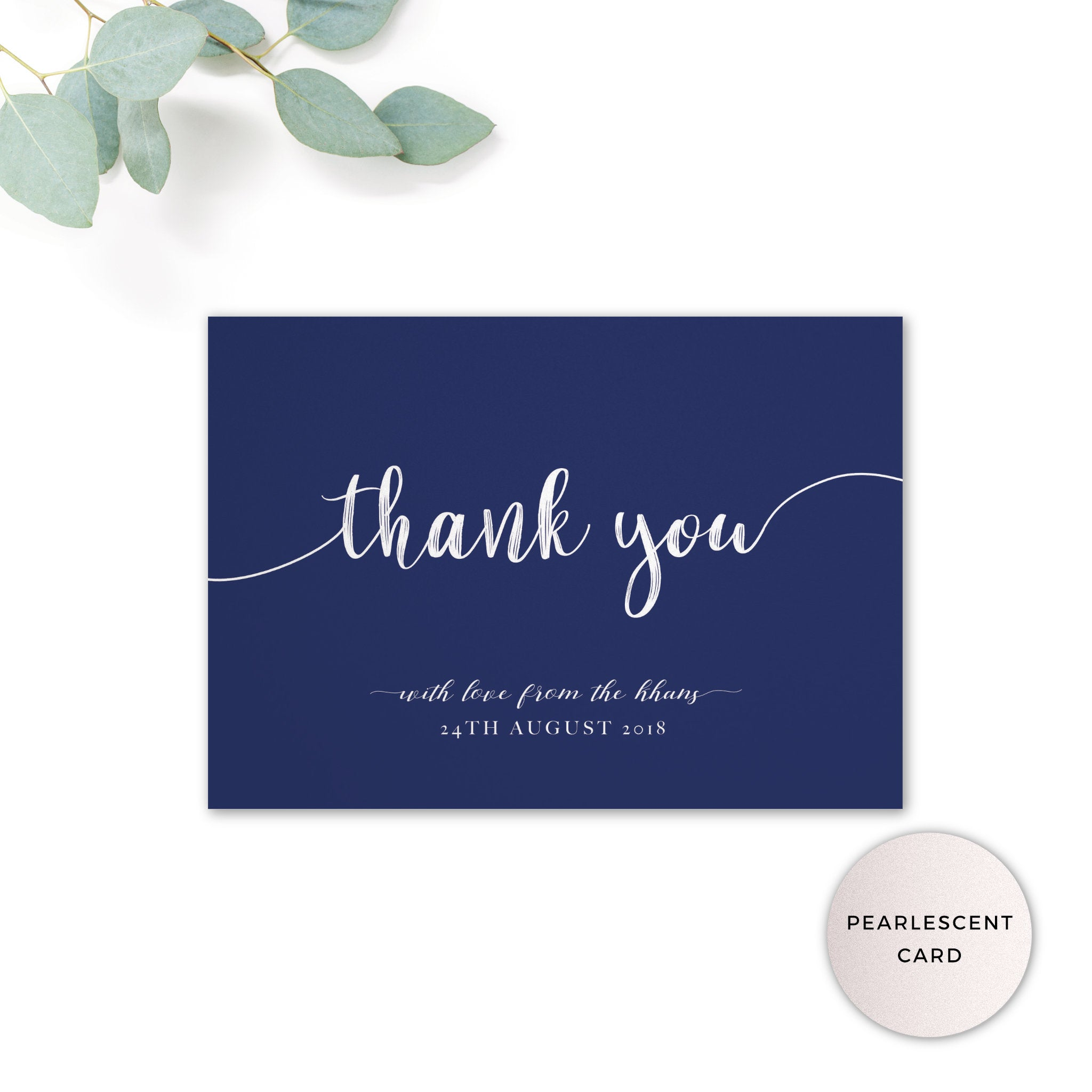 Hampton Navy Blue personalised thank you card printed on pearlescent card