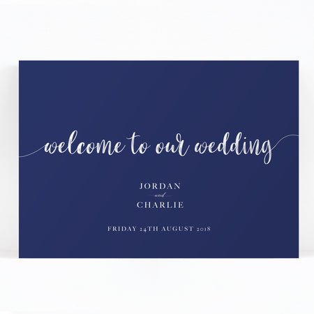 Hampton Navy Blue Welcome to our wedding sign