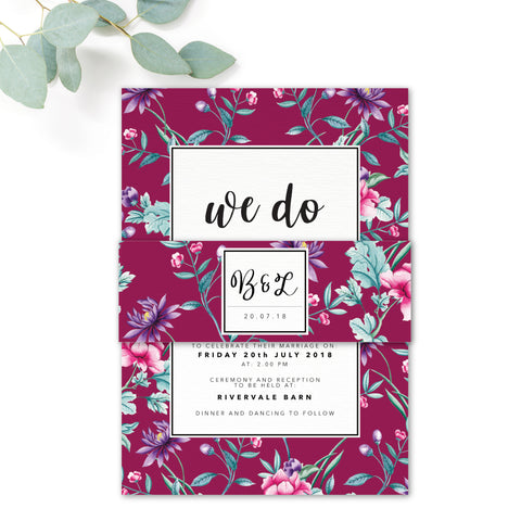 Hana Pink Floral Wedding Invitation Belly Band