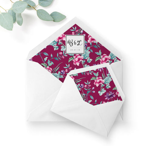Hana Pink Floral Wedding Monogram Envelope Liners