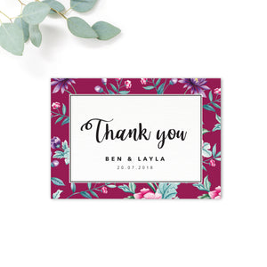Hana Pink Floral thank you card