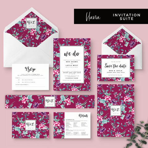 Hana Pink Floral Wedding Invitation Suite