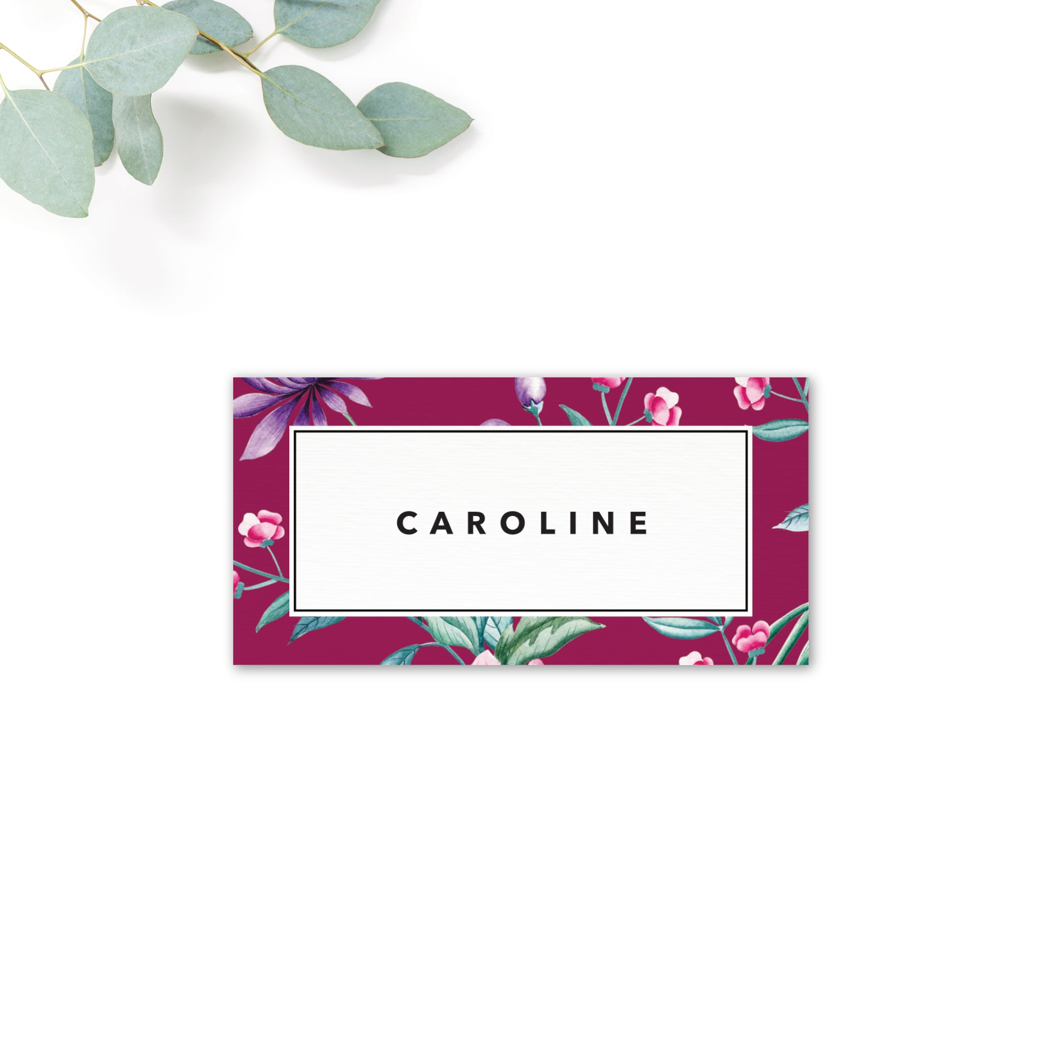 Hana Pink Floral wedding place card