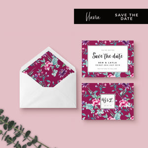 Hana Pink Floral Wedding Save the Date