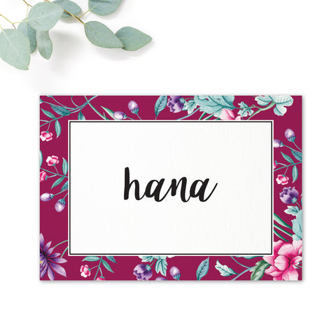 Hana Pink Floral wedding table names