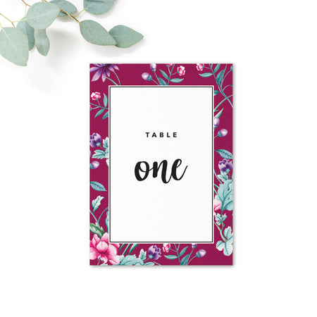 Hana Pink Floral wedding table number