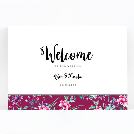 Hana Pink Floral Print Wedding Welcome Sign