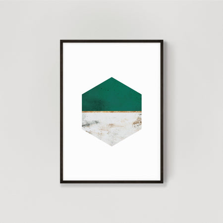 Hexagon Abstract Wall Art Print #1 - Emerald Green