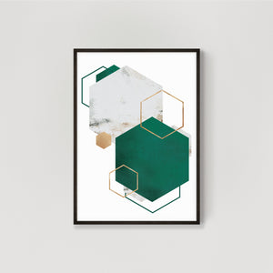 Hexagon Abstract Wall Art Print #2 - Emerald Green