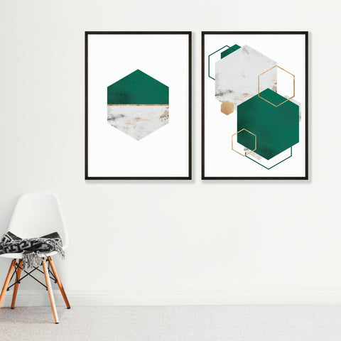 Set of 2 Hexagon Abstract Wall Art Prints - Emerald Green