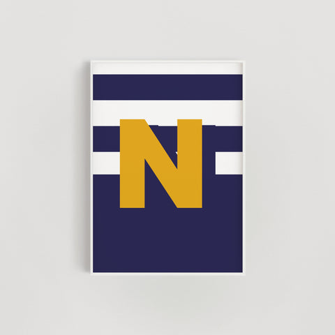 Geometric Stripes Initial Letter Nursery + Kids Print - Navy / Mustard