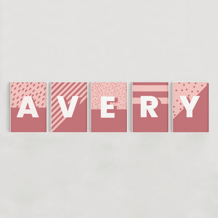 Geometric Spots and Stripes Nursery + Kids Name Print Set - Pink