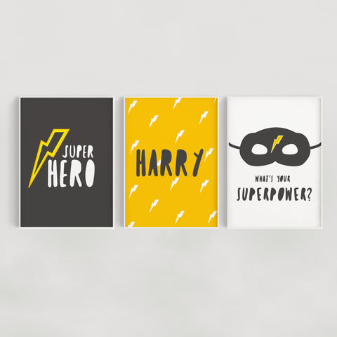 Superhero Set of 3 Personalised Kids Name Prints - Mustard and Grey