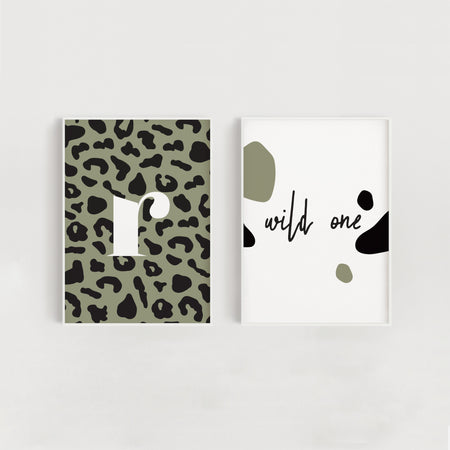 Wild One Set of Two Nursery + Kids Prints - Green Leopard