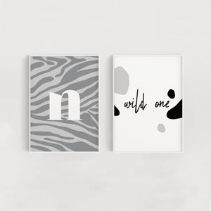 Wild One Set of Two Nursery + Kids Prints - Grey Zebra