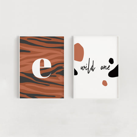 Wild One Set of Two Nursery + Kids Prints - Orange Tiger