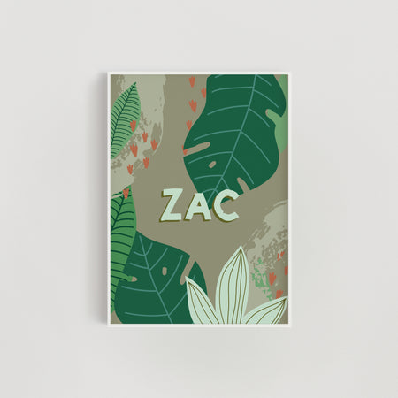 Jungle Leaf Personalised Nursery + Kids Print