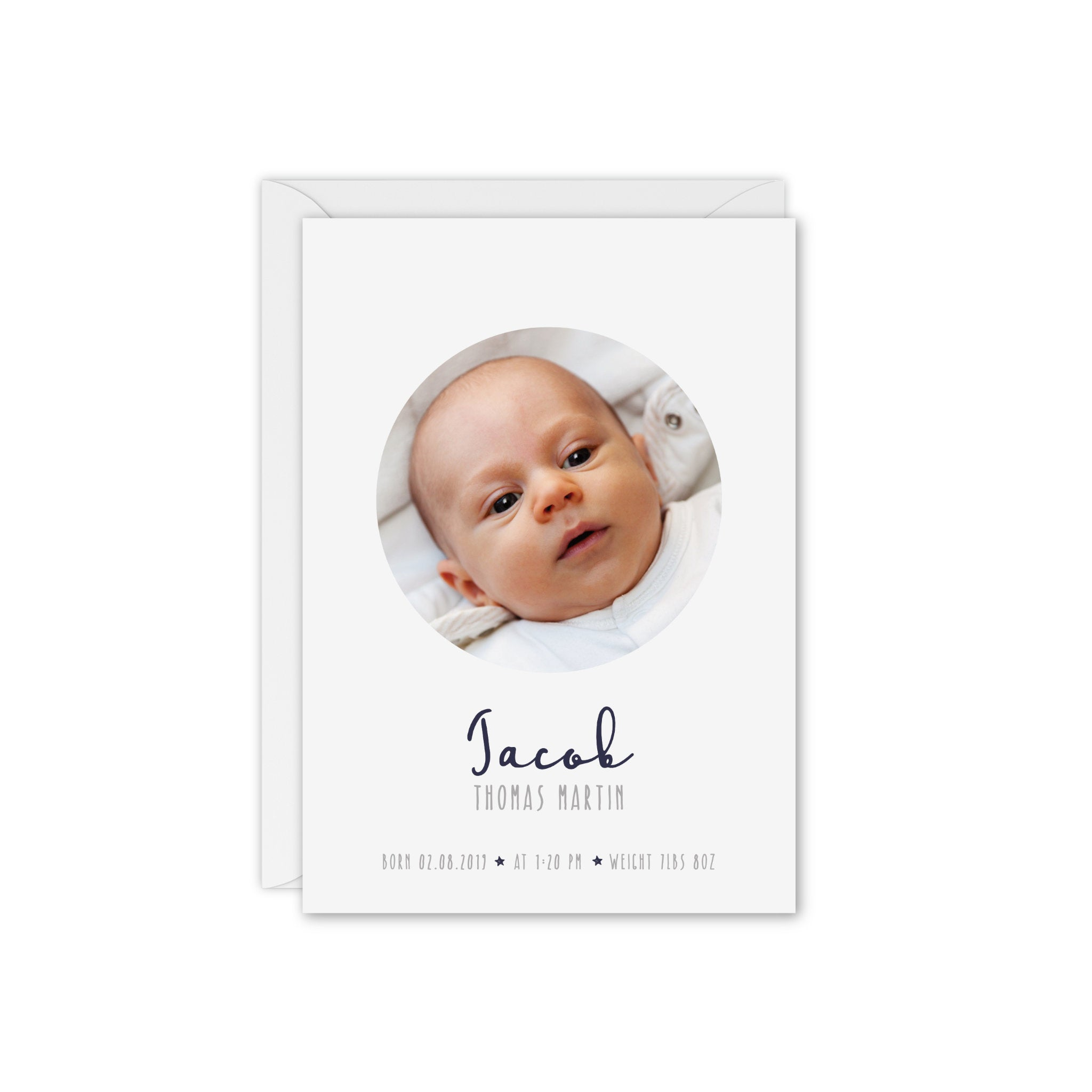 Little Dreamer Baby Photo Thank You Card - Navy and White