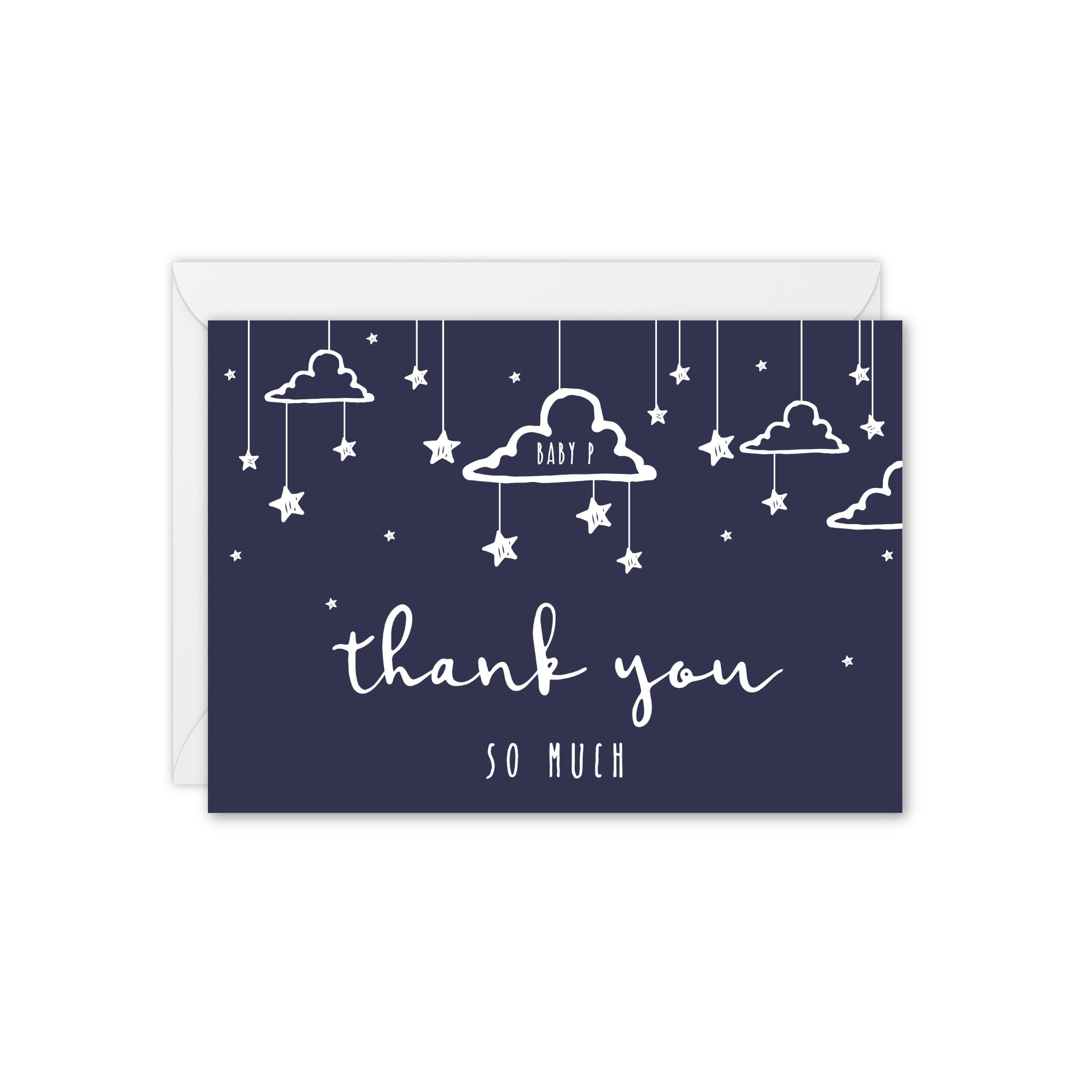 Little Dreamer Clouds and Stars Personalised Baby Thank You Card - Navy