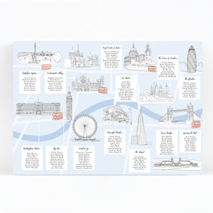 London Landmarks Illustrated Wedding Table / Seating Plan