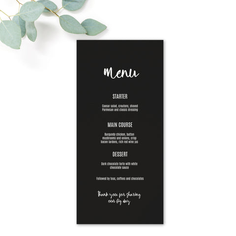 Manhattan Black and White Wedding Menu Card