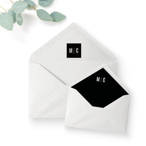 Manhattan Monochrome Monogram Wedding Envelope Liner