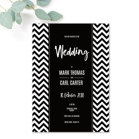 Manhattan Monochrome Monogram Wedding RSVP Card