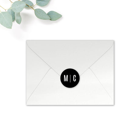 Manhattan Personalised Round Wedding Seal Stickers for Envelopes