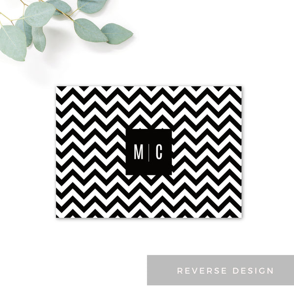 Manhattan Monochrome Chevron Wedding Save the date