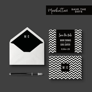 Manhattan Monochrome Monogram Save the Date Suite