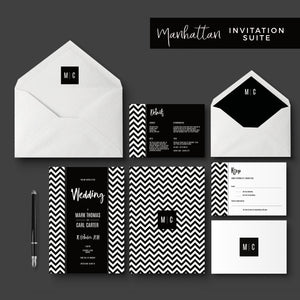 Manhattan Monochrome Monogram Wedding Invitation Bundle
