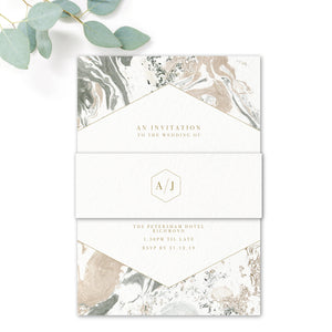 Marble Grey Nude Stone Wedding Invitation with monogram belly band