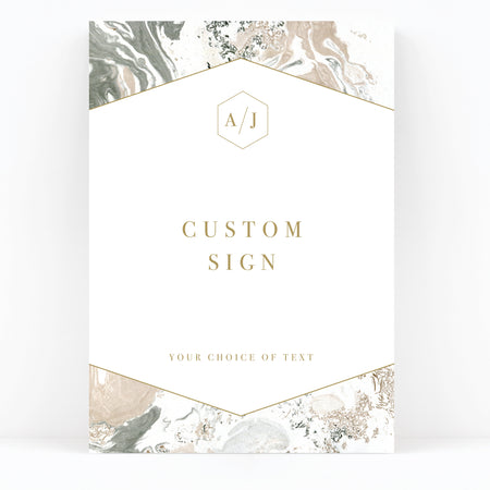 Marble Grey Nude Stone Wedding Custom Sign Print