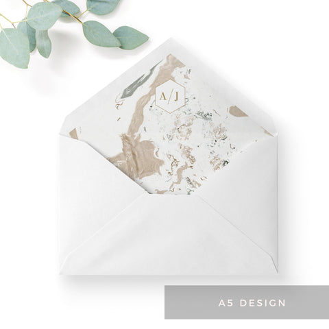 Marble Grey Nude Stone Wedding Envelope Liners Monogram A5