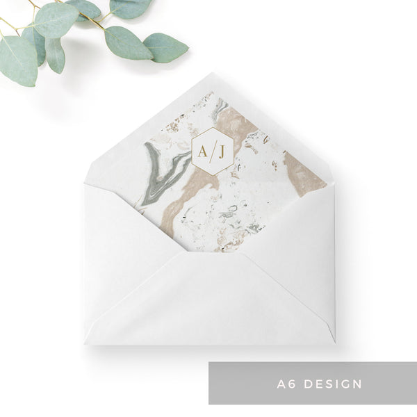 Marble Grey Nude Stone Wedding Envelope Liners Monogram A6