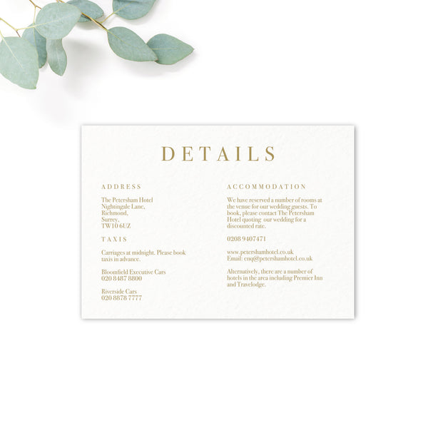 Marble Grey Nude Stone Wedding Invitation Details insert card
