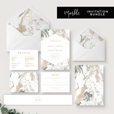 Marble Grey Nude Stone Wedding Invitation Suite