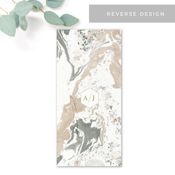Marble Grey Nude Stone Wedding Menu Card with monogram