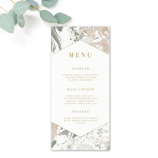 Marble Grey Nude Stone Wedding Menu Card