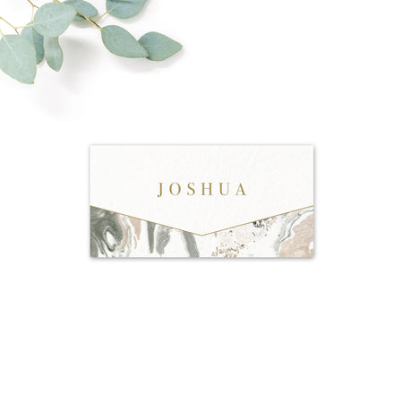 Marble Grey Nude Stone Wedding Place card