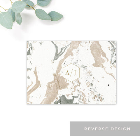 Marble Grey Nude Stone Wedding Save the date card reverse design monogram