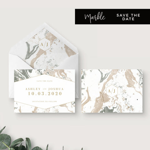Marble Grey Nude Stone Wedding Save the Date with monogram and envelope liner